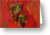 Luminescent Greeting Cards -   260 - Women in red Greeting Card by Irmgard Schoendorf Welch