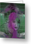 Mermaid Print Greeting Cards -  300 - Couple purple - green Greeting Card by Irmgard Schoendorf Welch