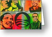 Conservative Greeting Cards -  4 Barack  Greeting Card by Tony B Conscious