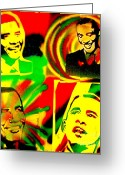 Sit-ins Painting Greeting Cards -  4 Rasta Obama Greeting Card by Tony B Conscious