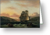 Great Painting Greeting Cards -  A Brigantine in Full Sail in Dartmouth Harbour Greeting Card by Thomas Luny