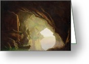 Piracy Greeting Cards -  A Grotto in the Gulf of Salerno - Sunset Greeting Card by Joseph Wright of Derby