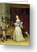 Tying Greeting Cards -  A Lady at Her Toilet Greeting Card by Gerard ter Borch