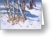 Snowscape Greeting Cards -  A Snowy Knoll Greeting Card by June Conte  Pryor
