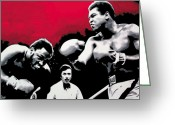 Ludzska Greeting Cards - - Ali vs Fraser - Greeting Card by Luis Ludzska