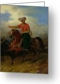 Barbarian Greeting Cards -  An Ottoman on Horseback  Greeting Card by Charles Bellier