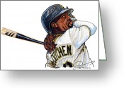 Espn Drawings Greeting Cards -  Andrew Mccutchen Greeting Card by Dave Olsen