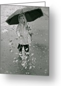 Little Boy Photo Greeting Cards - ... Another Rainy Day  Greeting Card by Gwyn Newcombe