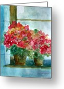 Flower Photographs Painting Greeting Cards -  Another Windowsill of Geraniums Greeting Card by Julie Lueders