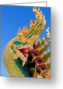 Animal Sculpture Sculpture Greeting Cards -  Asian temple dragon   Greeting Card by Panyanon Hankhampa