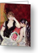 Long Gloves Greeting Cards -  At the Concert Greeting Card by Pierre Auguste Renoir
