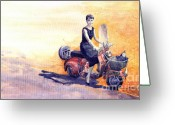 Roma Greeting Cards -  Audrey Hepburn and Vespa in Roma Holidey  Greeting Card by Yuriy  Shevchuk