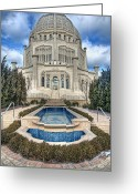 Blue Sky Photo Greeting Cards -  Bahai Temple Greeting Card by Scott Norris