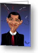 President Obama Greeting Cards -  Barack Obama The President of the United States of America Greeting Card by Remy Francis