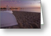 Lake Michgan Greeting Cards -  Beach and Chicago Skyline Greeting Card by Sven Brogren