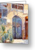 Arabia Greeting Cards -  Blue Door  Greeting Card by Dorothy Boyer