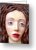 Blue Sculpture Greeting Cards -  Blue-eyed Girl Greeting Card by Yelena Rubin