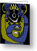 Ancient Aliens Greeting Cards -  Blue Kachina Greeting Card by Doug  Duffey