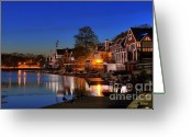 Landmarks Greeting Cards -  Boathouse Row  Greeting Card by John Greim