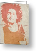 Reggae Greeting Cards -  Bob Marley Brown Greeting Card by Irina  March