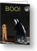 Pod Mixed Media Greeting Cards -  Boo Scream with Orca Greeting Card by Eric Kempson
