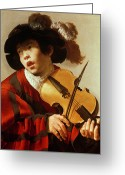 Violinist Greeting Cards -  Boy Playing Stringed Instrument and Singing Greeting Card by Hendrick Ter Brugghen