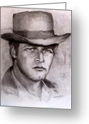 Cowboy Pencil Drawing Greeting Cards -  Butch Cassidy Greeting Card by Jack Skinner