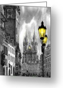 Paper Digital Art Greeting Cards -  BW Prague Old Town Squere Greeting Card by Yuriy  Shevchuk