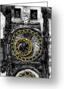 Watercolour Greeting Cards -  BW Prague The Horologue at OldTownHall Greeting Card by Yuriy  Shevchuk