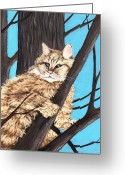 Forest Pastels Greeting Cards -  Cat on a Tree Greeting Card by Anastasiya Malakhova