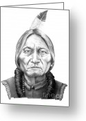 Pencil Drawing Greeting Cards -  Chief Sitting Bull Greeting Card by Murphy Elliott