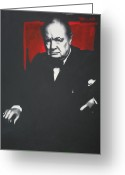 Ludzska Greeting Cards - - Churchill - Greeting Card by Luis Ludzska
