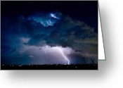 Thunderstorms Greeting Cards -  Clouds of Light. Lightning Striking Boulder County Colorado. Greeting Card by James Bo Insogna