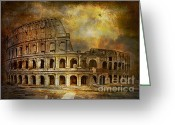 Rome Pyrography Greeting Cards -  Colosseum Greeting Card by Andrzej  Szczerski