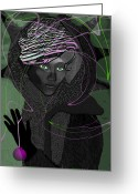 Glove Digital Art Greeting Cards -   December- Lady - 692 Greeting Card by Irmgard Schoendorf Welch
