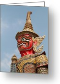 Yellow Sculpture Greeting Cards -  Demon Guardian Statues at Wat Phra Kaew Greeting Card by Panyanon Hankhampa