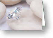Charm Greeting Cards -  Diamond On White Stone Greeting Card by Atiketta Sangasaeng