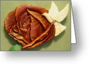 Botanical Sculpture Greeting Cards -  Dove on a Rose Greeting Card by Russell Ellingsworth