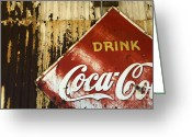 Vintage Signs Greeting Cards -  Drink Coca Cola  Memorbelia Greeting Card by Bob Christopher