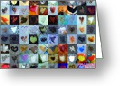 Grid Of Heart Photos Digital Art Greeting Cards -  Eight Hundred Series Greeting Card by Boy Sees Hearts