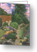 English Garden And House Greeting Cards -  English House and Garden 1 Greeting Card by    Armand  Storace