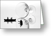 Black And White Glass Art Greeting Cards -  Escaping from a tumbled glass cup Greeting Card by Mingqi Ge