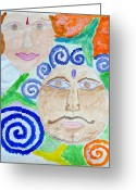 Reading Faces Greeting Cards -  Faces Greeting Card by Sonali Gangane