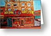 Schwartzs Hebrew Delicatessen Greeting Cards -  Fifties Fruitstore Greeting Card by Carole Spandau