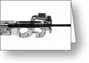 Firearms Photo Greeting Cards -   FN PS90 X-Ray Photograph Greeting Card by Ray Gunz