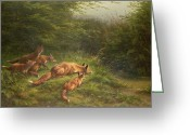 Cubs Painting Greeting Cards -  Foxes waiting for the prey   Greeting Card by Carl Friedrich Deiker