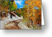 Santa Fe National Forest Greeting Cards -  Golden aspen trees in snow Greeting Card by Gary Kim