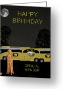 Backswing Greeting Cards -  Golf  World Tour Scream Tour Bus Happy Birthday Greeting Card by Eric Kempson