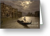 Gondola Digital Art Greeting Cards -  Gondola in the moonlight Venice Italy Greeting Card by H G Mielke
