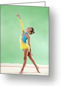 Hair Bun Greeting Cards - Gymnast, Smiling, Pose, Arm Up Greeting Card by Emma Innocenti